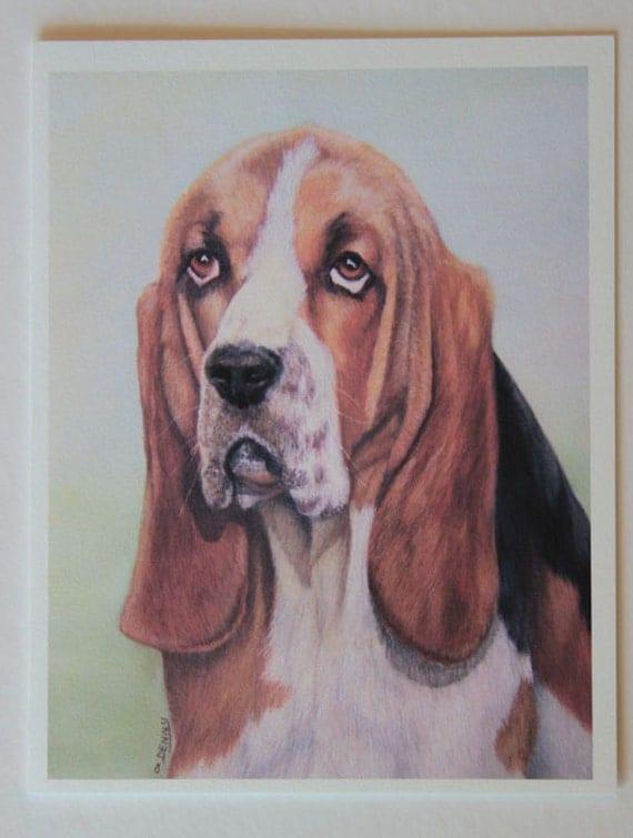 Basset hound, note card, blank greeting card, pastel pet portrait, dog art, fine art greeting cards