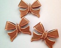 3 x large antique copper plated bow connector 2 loop pendants 38mm