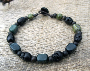 Mens surfer bracelet, wooden skull, agate, unakite and wood beads, earthy natural materials on strong cord, toggle and loop clasp, handmade