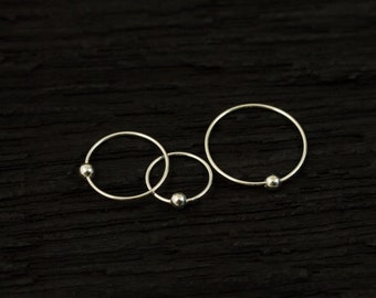24gauge thin Sterling silver with ball nose hoop / cartilage / tragus