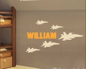 5 Military FIGHTER JETS with Name Vinyl Wall Decal Set M-109