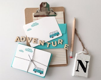 """Set of (5) A1 Size """"Camper Van Adventure Awaits"""" Note Cards"""