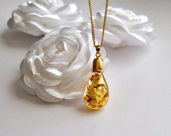 14k Gold flakes Natural jewelry, Bridal necklace, Eco fiendly, Glass pendant Terrarium, Wedding Gifts, Bridesmaids Accessories, Minimalist