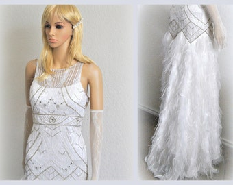 Feathers Wedding Dress, Lace Bridal Gown, Beaded Evening Gown, Crystals Pearls Unique Dress, Luxury Wedding Gown, New Old Stock