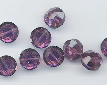 6 awesome and very rare vintage Swarovski crystal beads -- Art. 5100 - 14 mm - amethyst AB