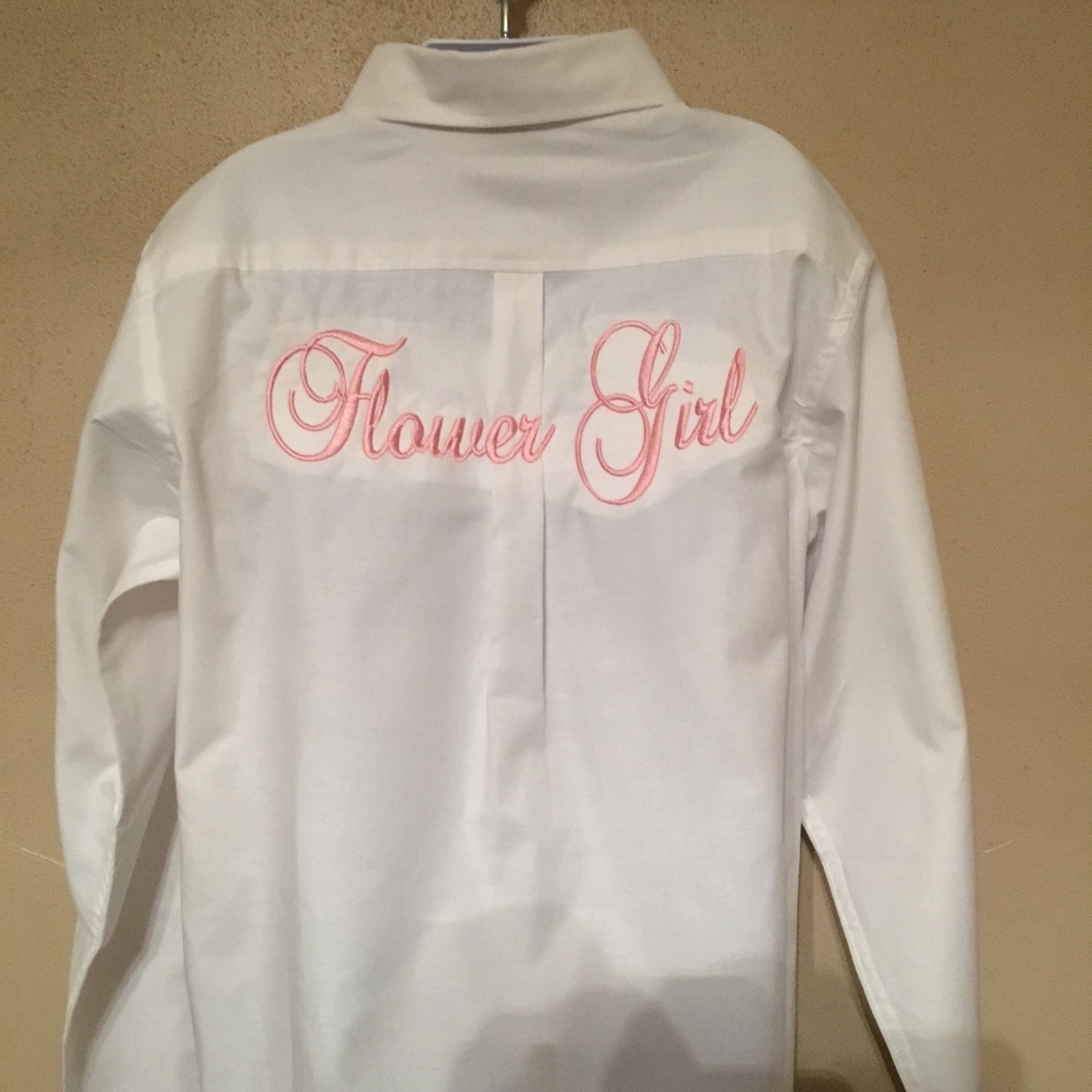 Flower girl monogram shirts button down oversized style dress for Initials on dress shirts