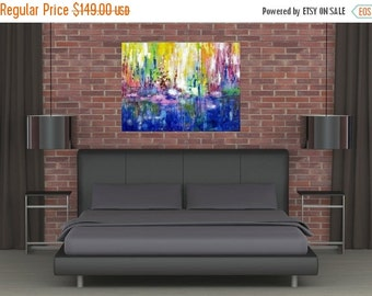 SALE 20% OFF XLarge Huge Abstract Acrylic Landscape Colorful Painting Modern Canvas Art Vivid Surreal Water Contemporary Dining Room Wall De