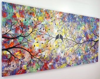 Birds Painting Large Abstract Love Birds in Tree Painting Canvas Art Bird Silhouette Romance Modern  Over the Couch Bed Decor 24x48 JMichael