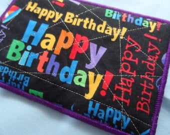Quilted  Postcard - Handmade  Postcard - Happy Birthday Postcard - Patchwork  Postcard - Fabric  Postcard - Appliqué Postcard