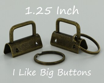 25 Sets - ANTIQUE BRASS - 1.25 INCH (32 mm) Key Fob Hardware with Rings Wristlet/Key Chains