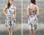 painted floral sundress w/ exposed back