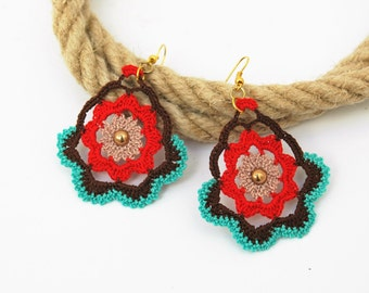 Crochet earrings - Crochet earring jewelry - Red, brown and turquoise
