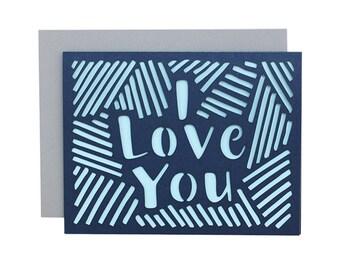 """Love Card - """"I Love You"""" Laser Cut Card"""