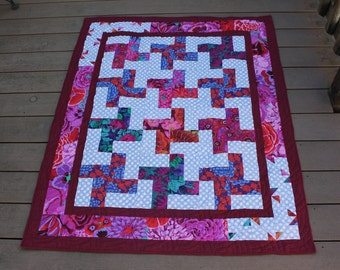 Colorful Floral Lap Quilt in Beautiful Kaffe Fassett Fabrics, Red Pinks and Purples