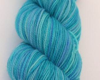 "Kettle Dyed Sock Yarn, Superwash Merino, Cashmere and Nylon Fingering Weight, in ""Pool"""