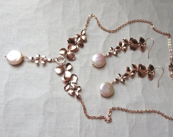 Rose Gold Flower Necklace and Earring Set with Genuine Natural Lustrous Peach Coin Pearls