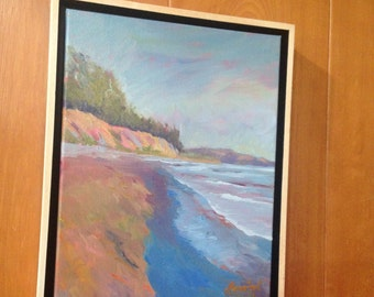"""Goleta Beach Oil Painting, 11"""" x 14"""" on 1 1/2"""" thick gallery wrap, set in a Natural Wood Floater Frame. Free shipping"""