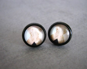 Modern Abstract Studs : X Black White Earrings