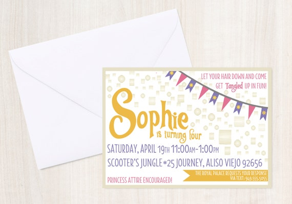 Tangled {inspired} Birthday Invite - Rapunzel Party Invitation - princess party - Party Supplies