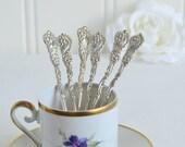 Mocha demitasse shabby coffee spoons, vintage Swedish ornate coffee and tea cutlery, please see item details