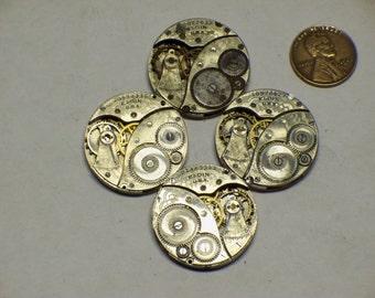 4 vintage Elgin 3/0s watch movements E-413