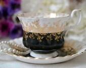 Royal Albert Black Regal Series Teacup and Saucer Set, English Bone China Black Tea Cup, ca. 1970