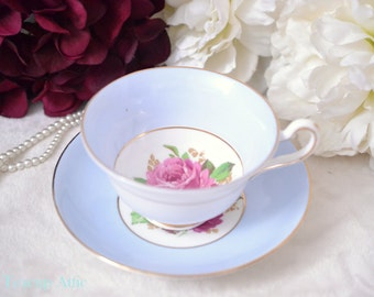 Rosina Pale Blue Teacup And Saucer Set With Large Rose, English Bone China Tea Cup Set, Tea Party, Wedding Gift, ca. 1952