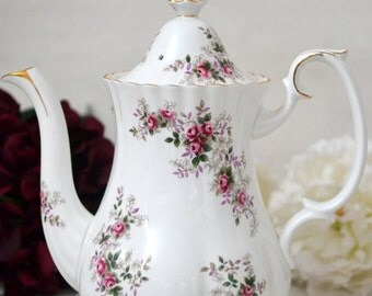 ON SALE Royal Albert Lavender Rose Full Sized Coffee Pot with Pattern on Spout, Replacement China, Wedding Gift, c. 1980-2002