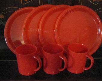 Vintage set of Red Plastic Plates and Mugs, for Picnics, Camping, Tailgating or the Kids