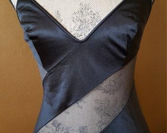 Vintage Black Sheer Nightgown Long Nightie  Ralph Montenero Women's Small Medium Lingerie Sexy Romantic