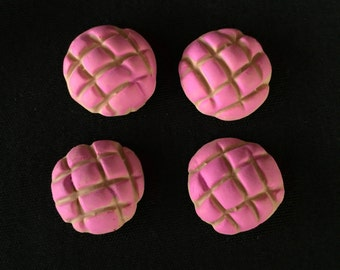 Set of 4 Polymer Clay Painted Pink Concha Pan Dulce