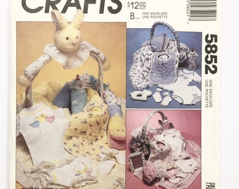 UNCUT McCall's Crafts 5852 Infants Gift Basket Sewing Pattern Bonnet Bib Blanket Bottle Cover
