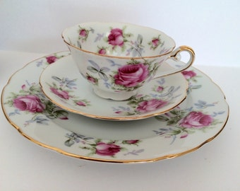 Vintage Lefton Tea Cup With Saucer and Salad Plate Three Piece Lefton's Exclusives Japan Pink Roses Gold Trim Set