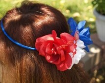 Patriotic Headpiece, Fourth of July headpiece, USA Flag, Fourth of July Hair, tricolor Headpiece, Derby, Mardi Gras, Red White and Blue