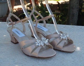 Champagne Bridal Shoes B W WW width, Wedding 150+ colors,Comfortable open toe sandals, Short Thick Heel, Sandals,Crystals brooch, Wide Width