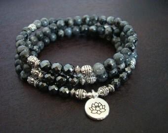 Women's Black Moonstone Mala Necklace or Wrap Bracelet // Choose a Charm // Yoga, Buddhist, Meditation, Mala Beads, Yoga Jewelry