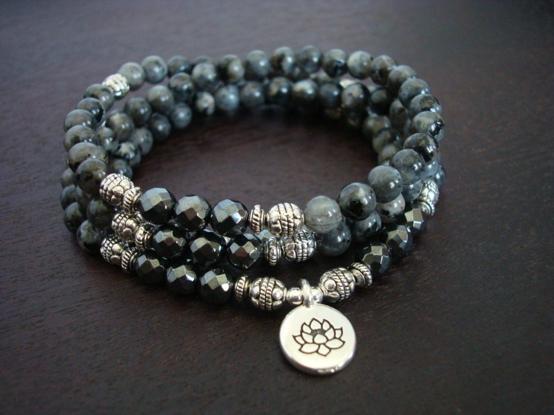 Women's Black Moonstone Mala Necklace or Wrap Bracelet