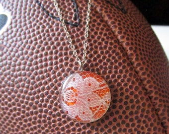 Orange and White Gameday Necklace/ Texas Longhorns/ Clemson Tigers/ Cheerleader/ School Spirit/ Game Day Pride/ Sorority Jewelry/ Christmas