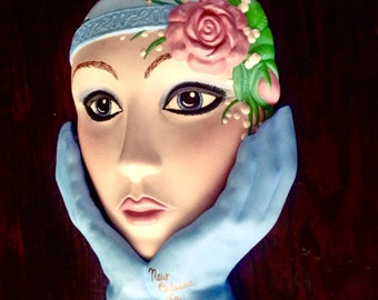 SALE > Vintage Flapper Face Ceramic Statue / Bust