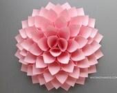 paper dahlia . 10 1/8'' dahlia flower wall art . nursery wall decor . origami flower . baby shower . . origami gifts . wedding gift -pink