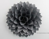 texture paper dahlia || 10 1/8'' dahlia wall decor || flower door wreath || wedding flower || origami gifts -texture charcoal