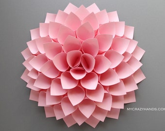 paper dahlia . 10 1/8'' dahlia flower wall art . nursery wall decor . origami flower . baby shower . . origami gifts . wedding gift -pink