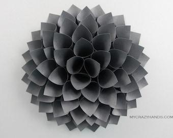 texture paper dahlia || 10 1/8'' dahlia wall decor || flower door wreath || wedding flower || | origami gifts -texture charcoal