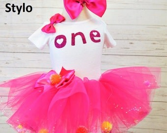 Hot pink first birthday outfit,FREE SHIPPING,first birthday girl outfit,pink birthday tutu,pink tutu,girl birthday outfit