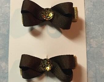 Petite bow clips, hair clippies, cheetah hair clip, brown bow, bows