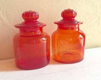 Rare Red Glass Jars with Lids Excellent Condition Ground Rims