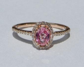 Natural 0.74 Carat Pink Sapphire & Diamond Engagement Ring 14kt Rose Gold