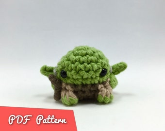 "PDF Pattern for Crocheted Yoda from Star Wars Amigurumi Kawaii Keychain Miniature Doll ""Pod People"""
