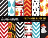 Firefighter Scrapbooking Paper - Fireman Digital Paper Set - COMMERCIAL USE Read Terms Below