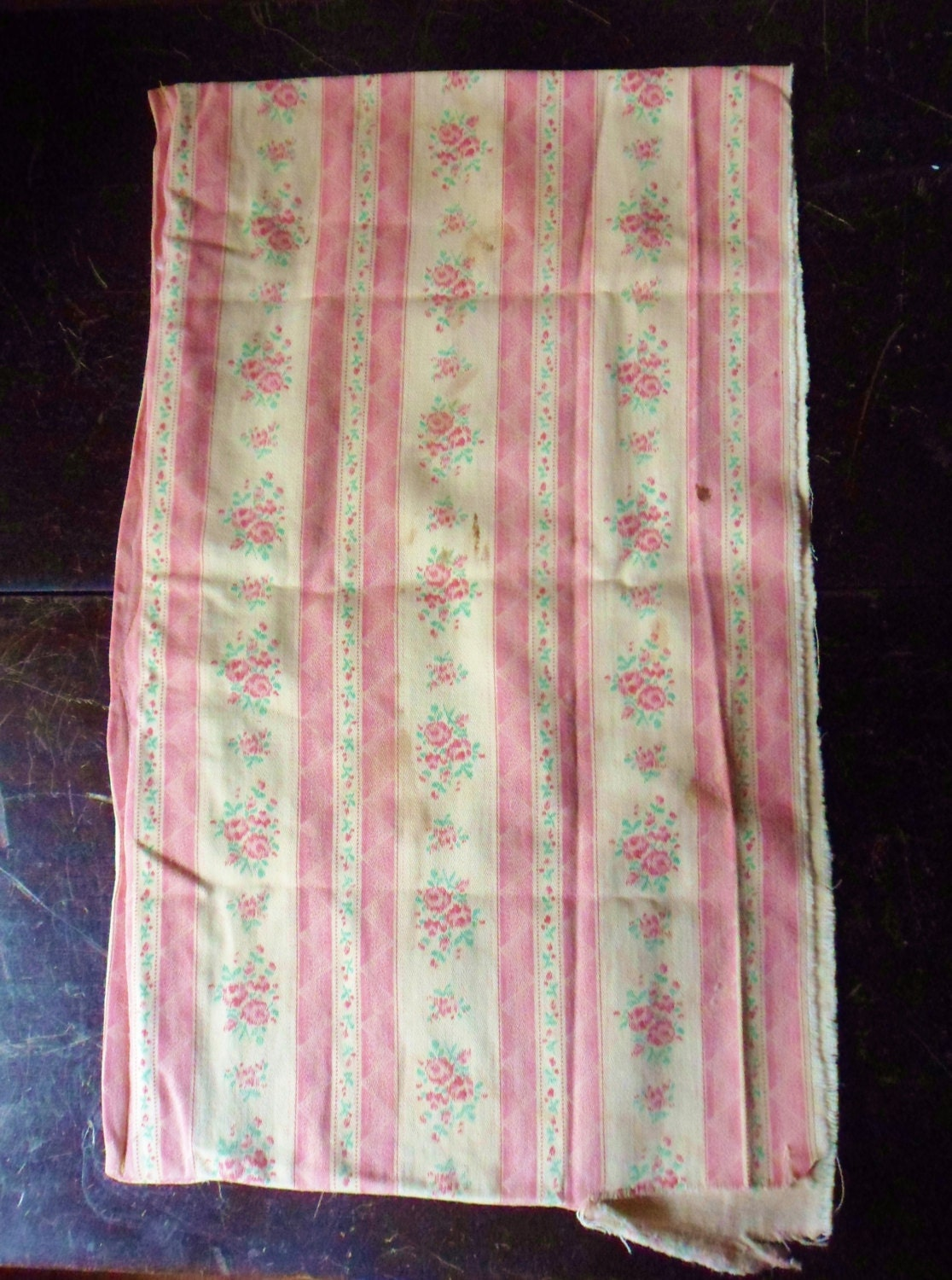 Salvaged French Feather Pillow Ticking Piece Of Pink